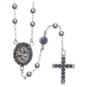 Rosario classico Santa Rita silver zirconi neri argento 925 s1