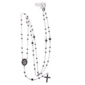 Rosario classico Santa Rita silver zirconi neri argento 925 s5