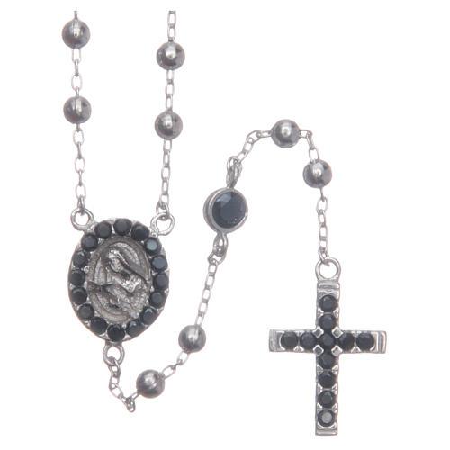 Rosario classico Santa Rita silver zirconi neri argento 925 1