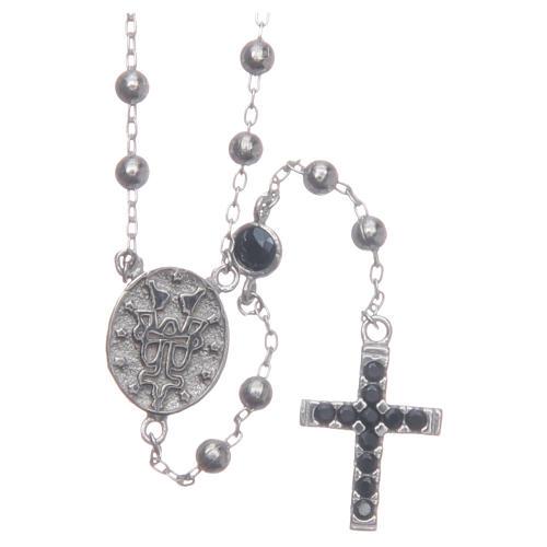 Rosario classico Santa Rita silver zirconi neri argento 925 2