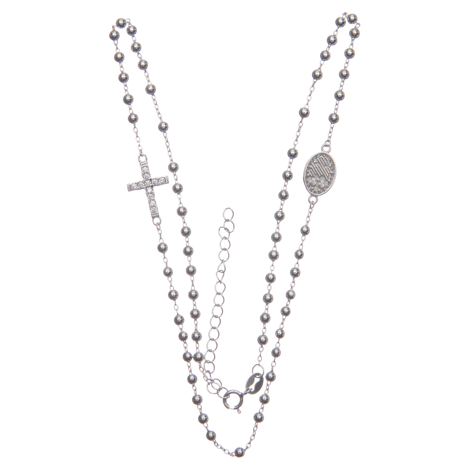 Rosario girocollo Santa Rita silver zirconi bianchi argento 925 4
