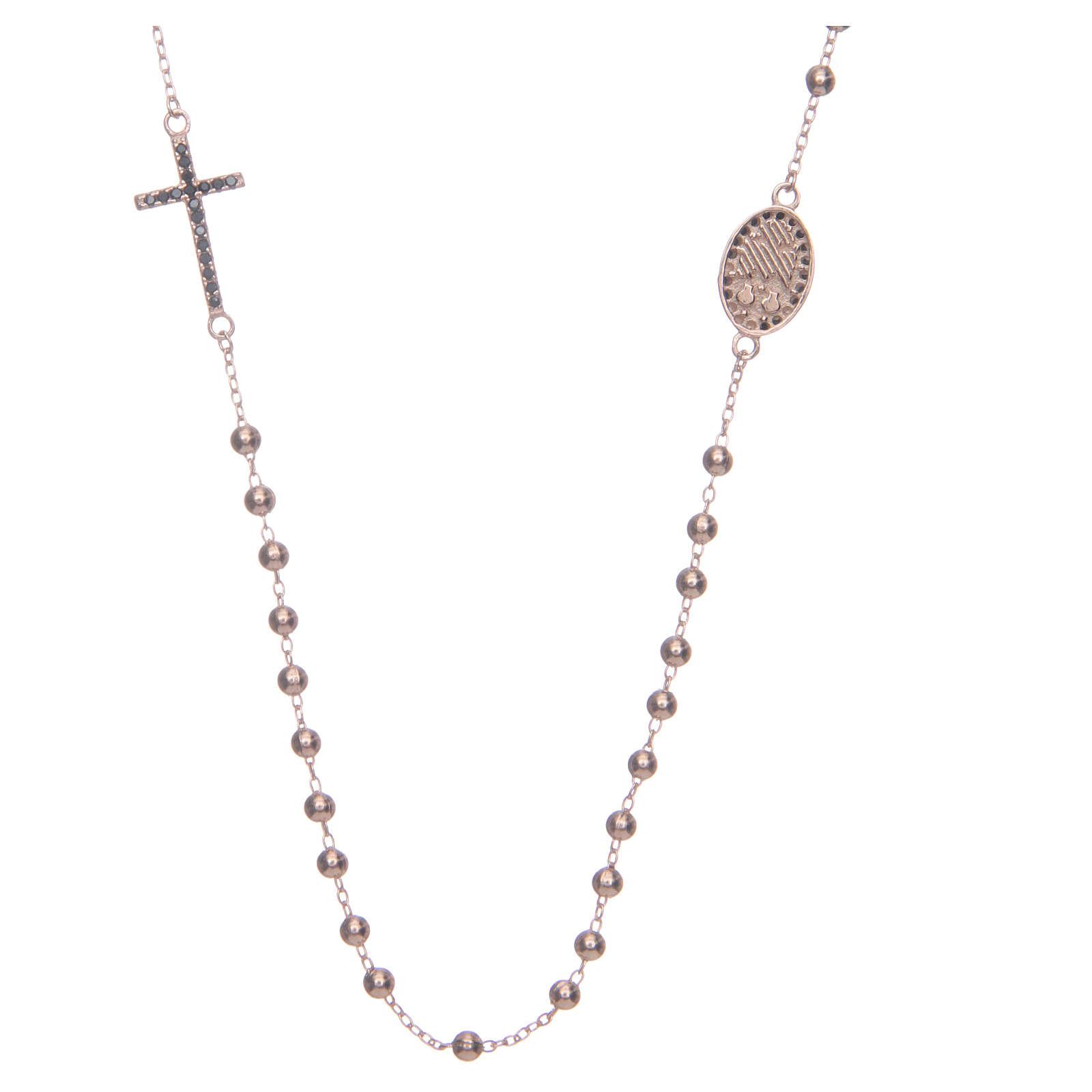 Rosary choker Saint Rita rosè with black zircons in 925 sterling silver 4