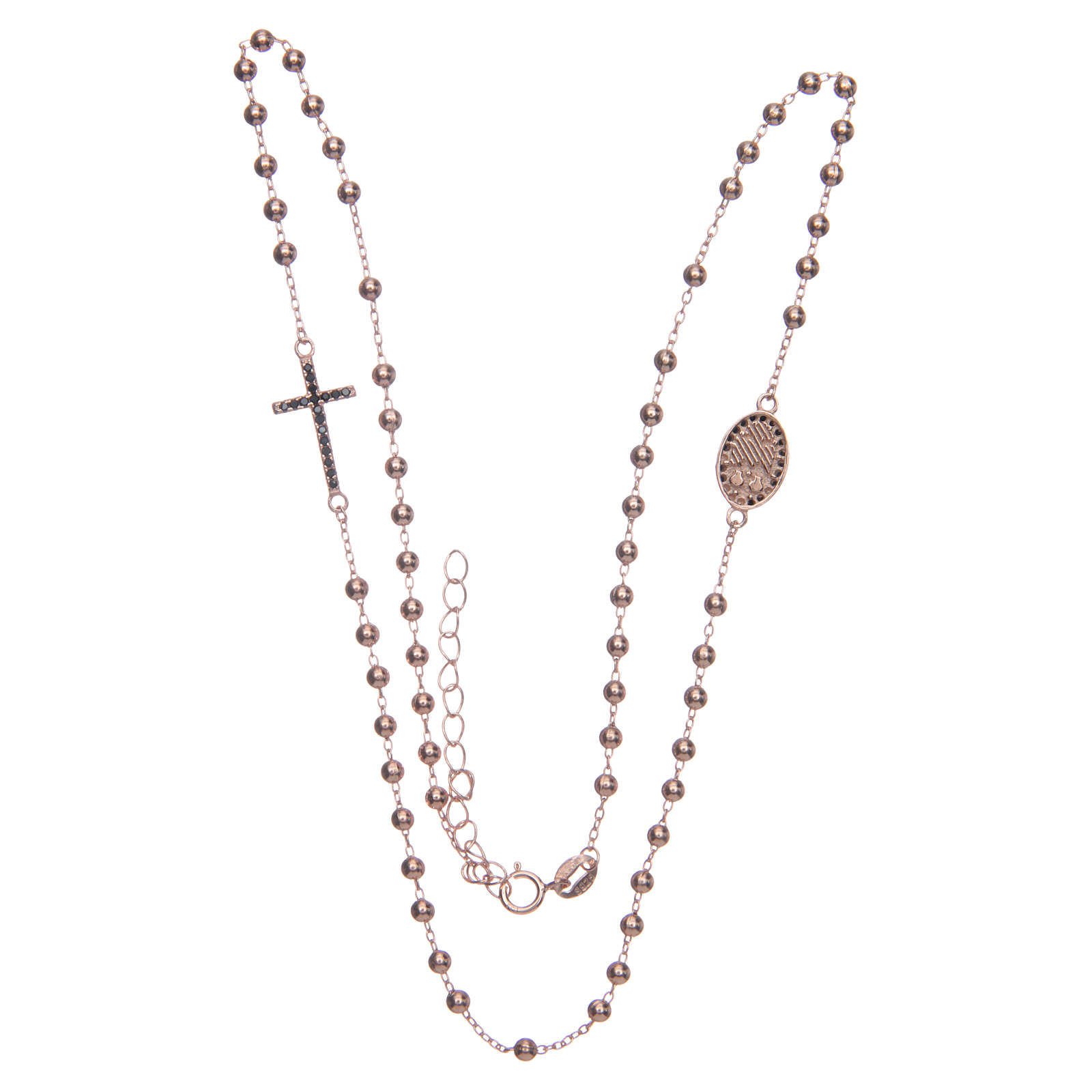Rosario girocollo Santa Rita rosé zirconi neri argento 925 4