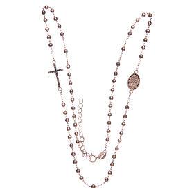 Rosario girocollo Santa Rita rosé zirconi neri argento 925 s3