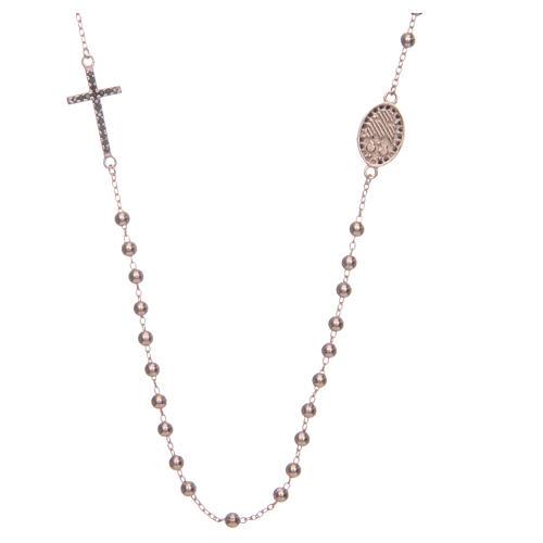 Rosario girocollo Santa Rita rosé zirconi neri argento 925 2