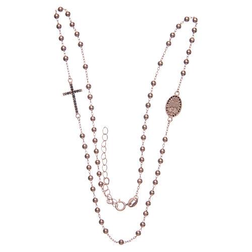 Rosario girocollo Santa Rita rosé zirconi neri argento 925 3
