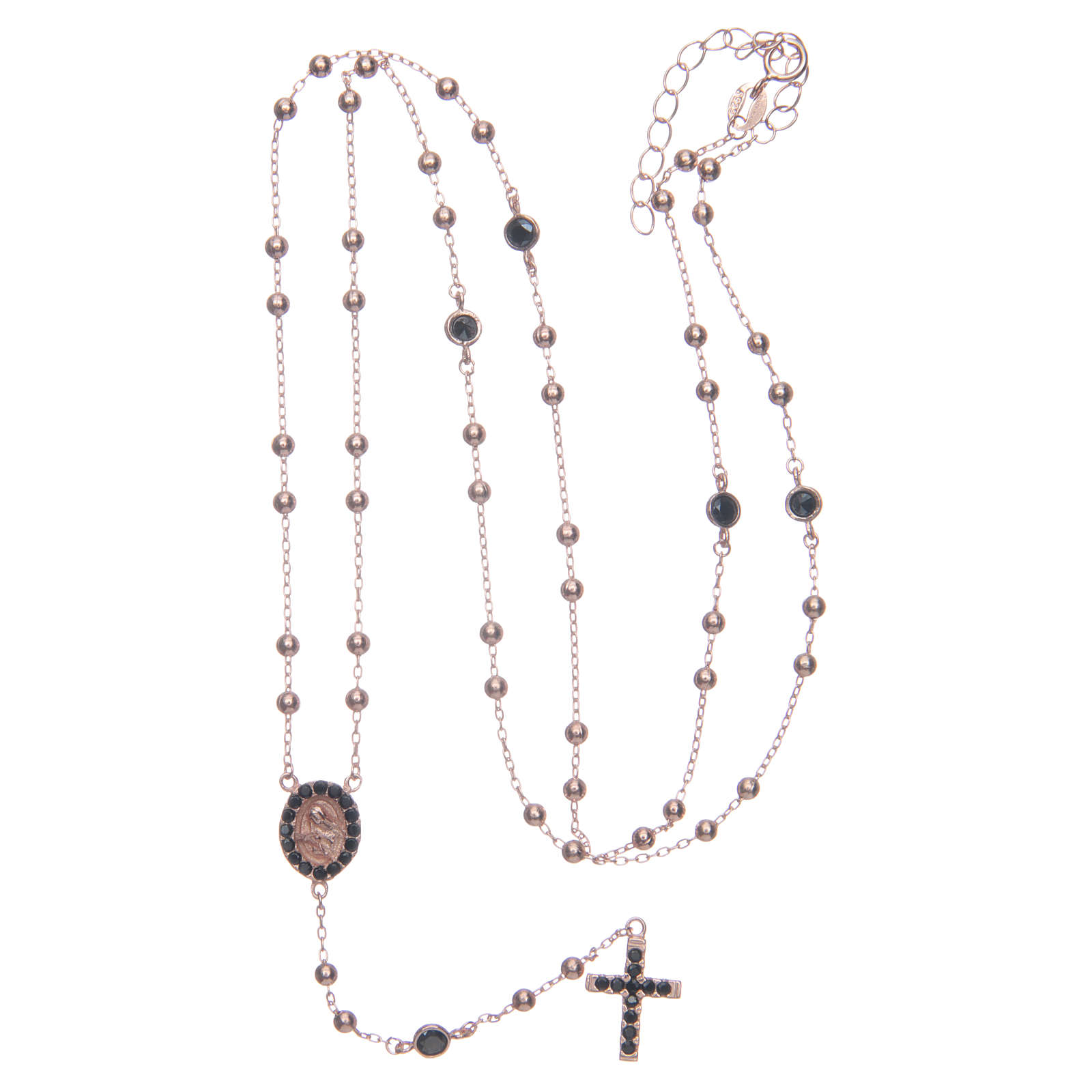 Classic rosary Saint Rita rosè with black zircons in 925 sterling silver 4
