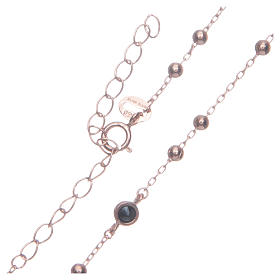 Classic rosary Saint Rita rosè with black zircons in 925 sterling silver s4