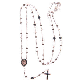 Classic rosary Saint Rita rosè with black zircons in 925 sterling silver s5