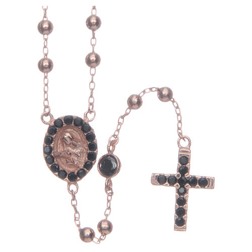 Classic rosary Saint Rita rosè with black zircons in 925 sterling silver 1