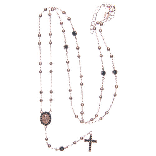 Classic rosary Saint Rita rosè with black zircons in 925 sterling silver 5