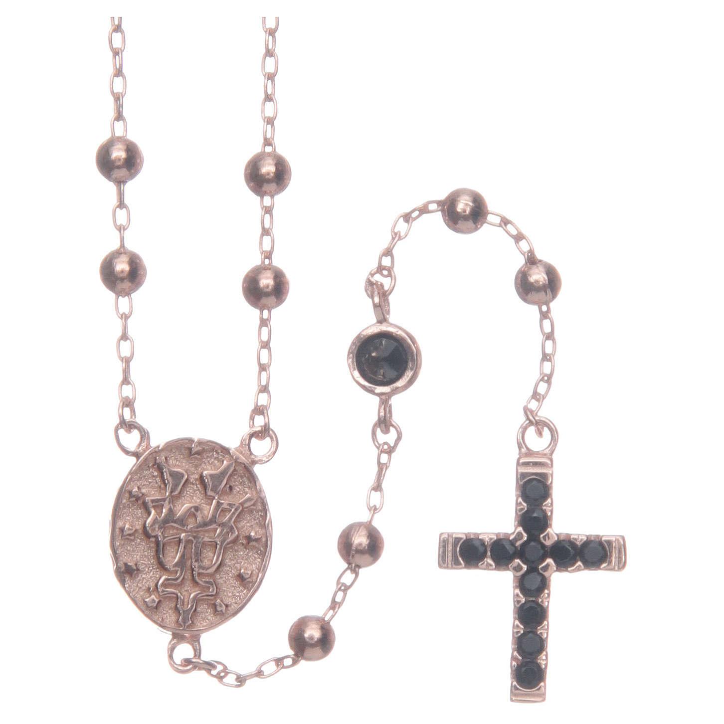 Rosario classico Santa Rita rosé zirconi neri argento 925 4