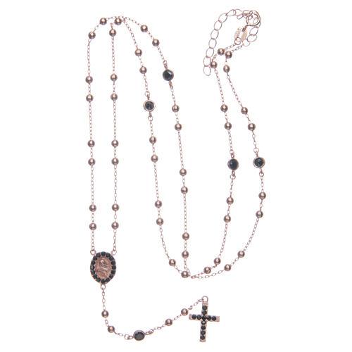 Rosario classico Santa Rita rosé zirconi neri argento 925 5