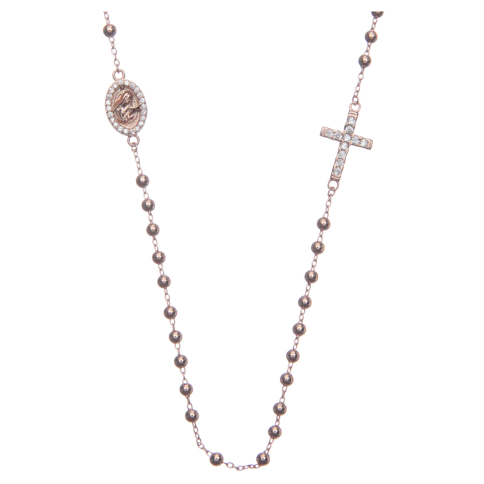 Rosary bracelet Saint Rita rosè with white zircons in 925 sterling silver 4