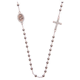 Rosary bracelet Saint Rita rosè with white zircons in 925 sterling silver s1