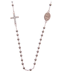 Rosary bracelet Saint Rita rosè with white zircons in 925 sterling silver s2