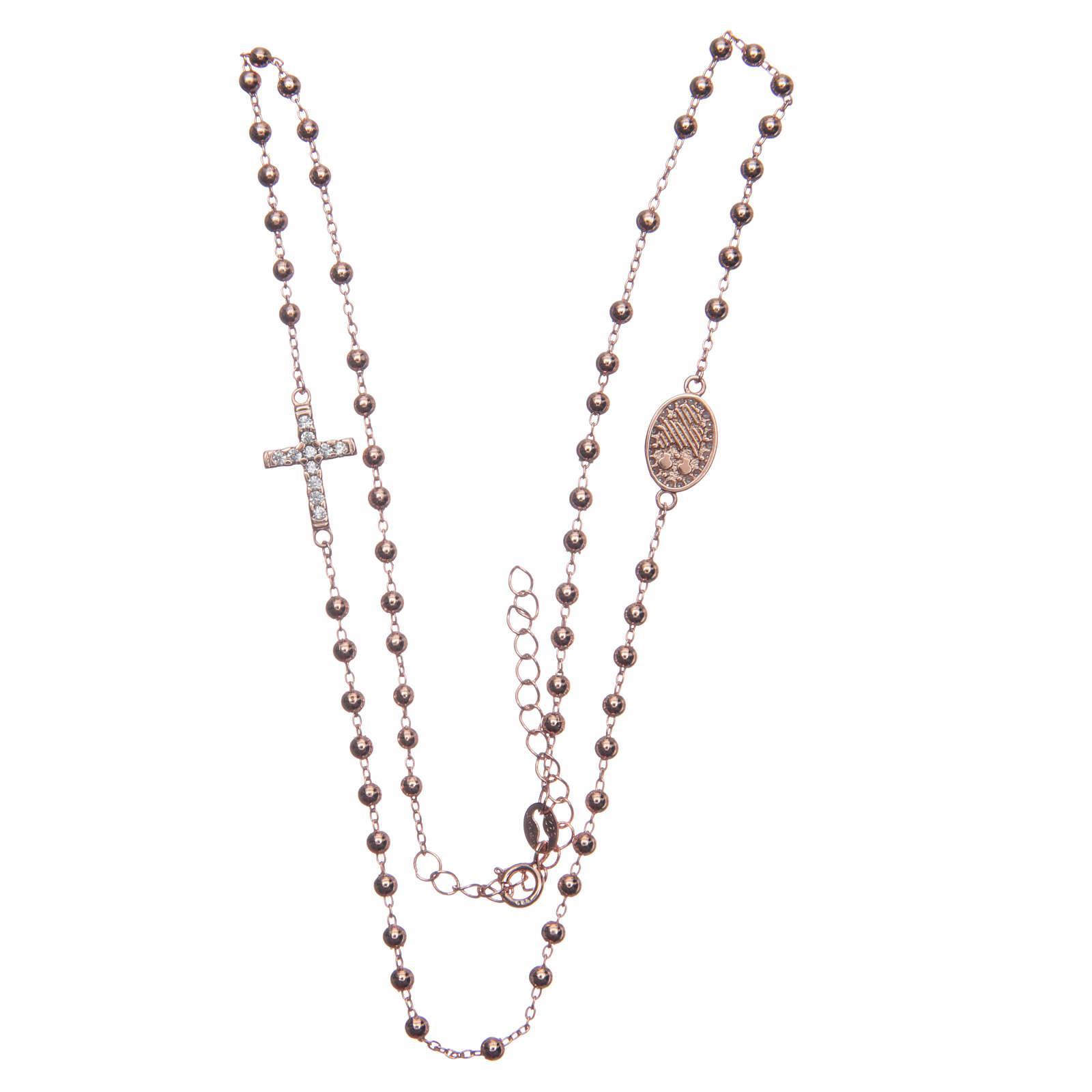 Rosario gargantilla Santa Rita rosado zircones blancos plata 925 4