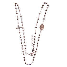 Rosario gargantilla Santa Rita rosado zircones blancos plata 925 s3