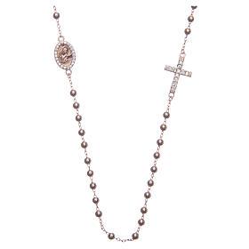 Rosario girocollo Santa Rita rosé zirconi bianchi argento 925 s1