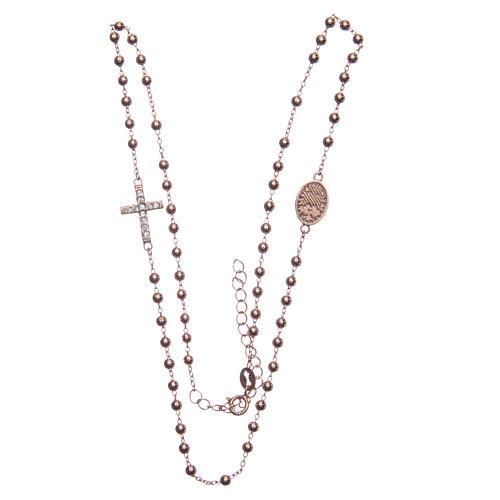 Rosary bracelet Saint Rita rosè with white zircons in 925 sterling silver 3