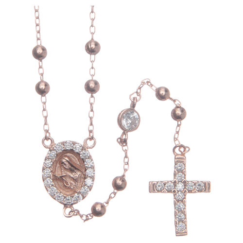 Rosario classico rosé Santa Rita zirconi bianchi argento 925 1