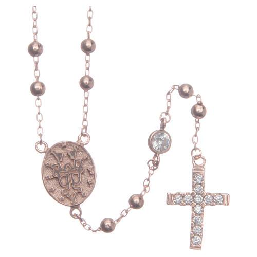 Rosario classico rosé Santa Rita zirconi bianchi argento 925 2