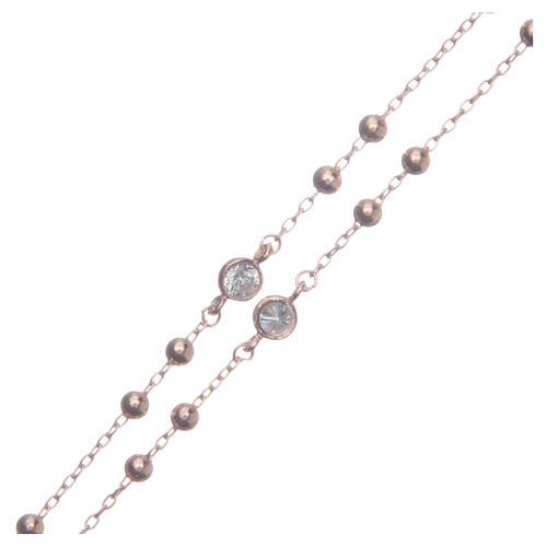 Rosario classico rosé Santa Rita zirconi bianchi argento 925 3