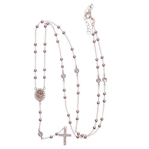Rosario classico rosé Santa Rita zirconi bianchi argento 925 5