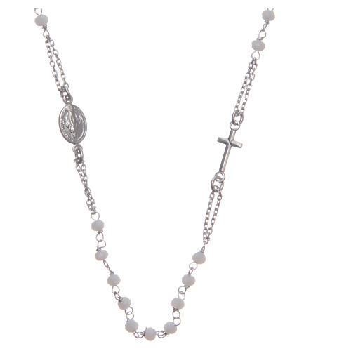 Rosario girocollo colore bianco Santa Rita argento 925 1