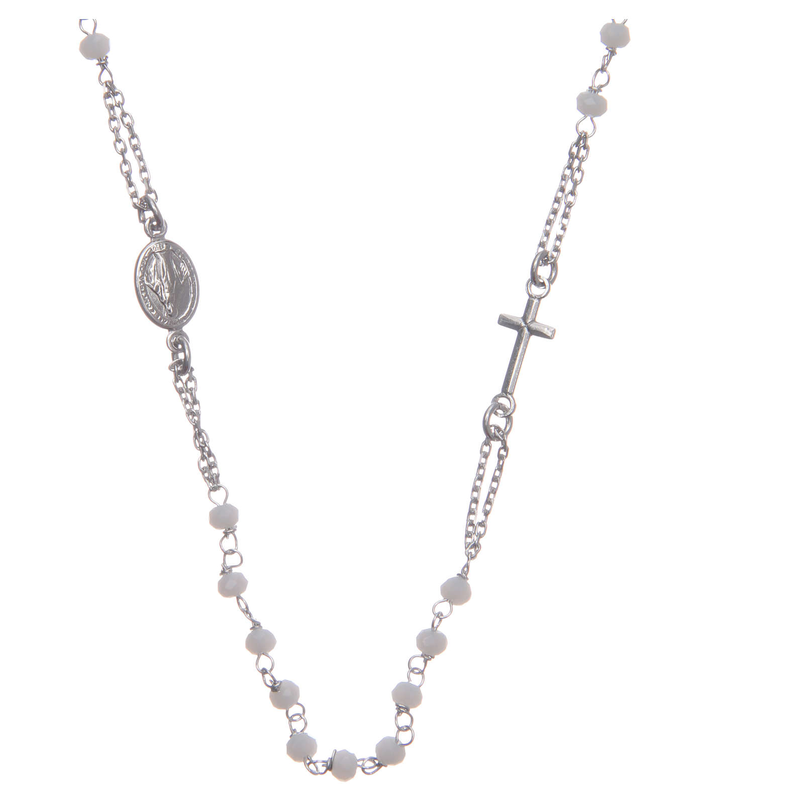 Rosary choker Saint Rita classic model white in 925 sterling silver 4