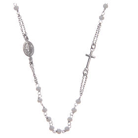 Rosary choker Saint Rita classic model white in 925 sterling silver s1