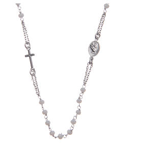 Rosary choker Saint Rita classic model white in 925 sterling silver s2