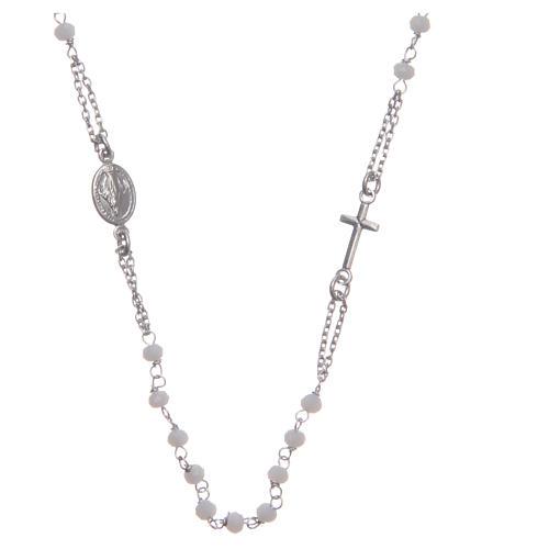 Rosary choker Saint Rita classic model white in 925 sterling silver 1