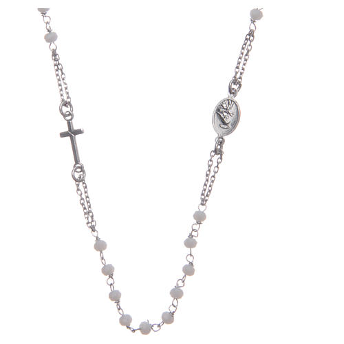 Rosary choker Saint Rita classic model white in 925 sterling silver 2