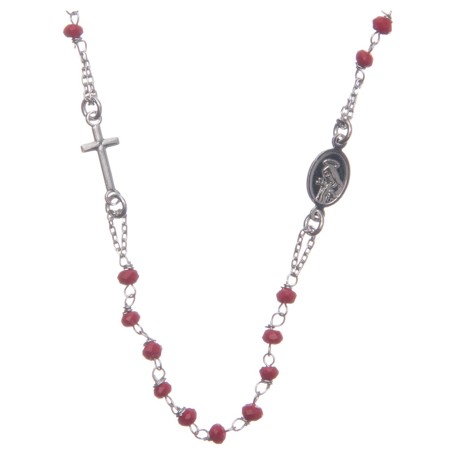 Rosario girocollo colore rosso Santa Rita argento 925 4