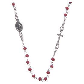Rosario girocollo colore rosso Santa Rita argento 925 s1