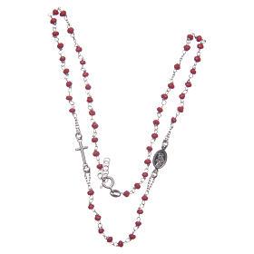 Rosario girocollo colore rosso Santa Rita argento 925 s3