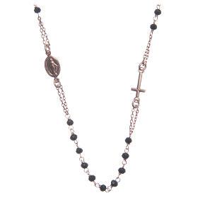 Rosario gargantilla Santa Rita rosado negro plata 925 s1