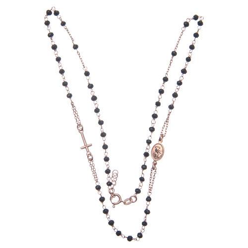 Rosario gargantilla Santa Rita rosado negro plata 925 3