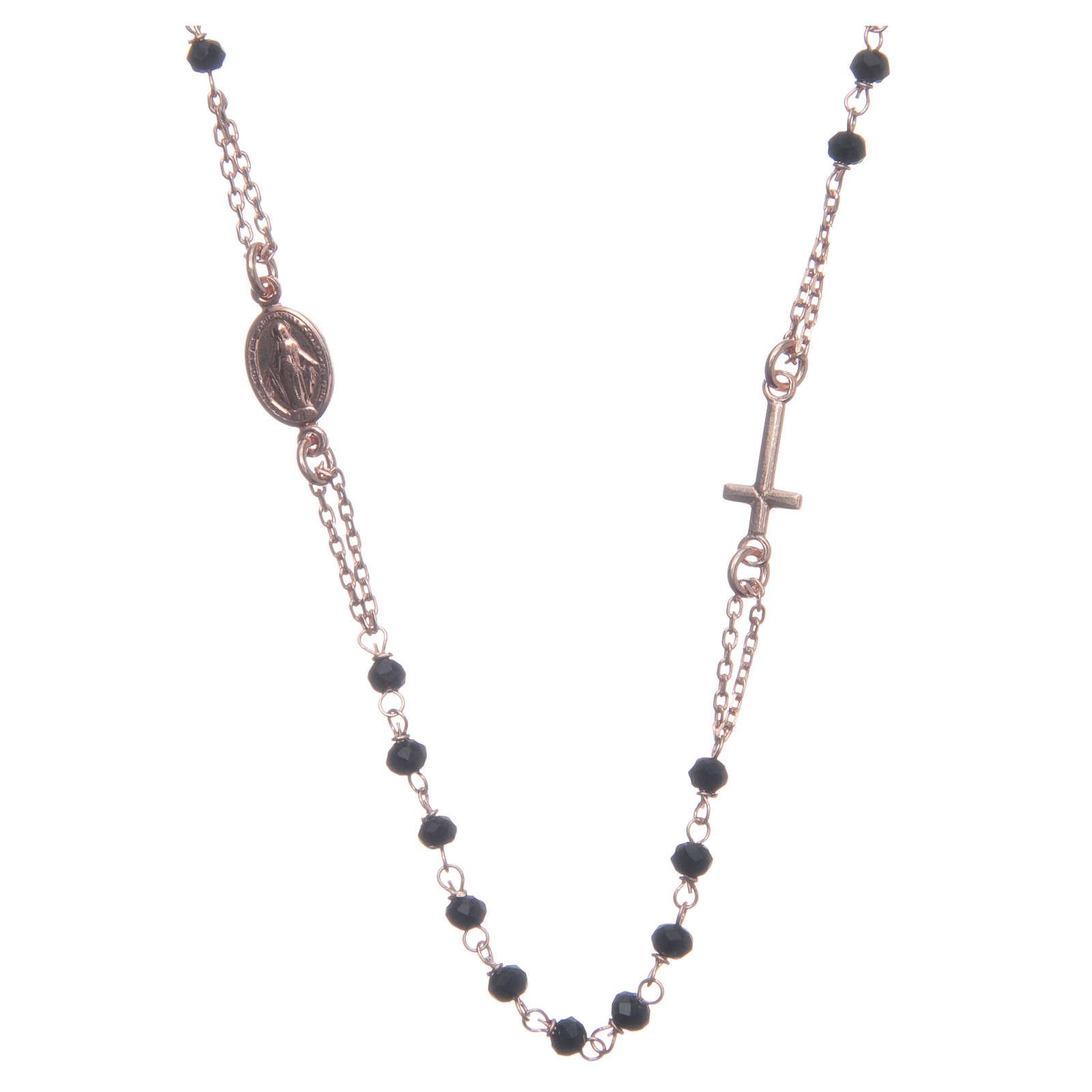 Rosario girocollo Santa Rita rosé nero argento 925 4