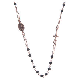 Rosario girocollo Santa Rita rosé nero argento 925 s1