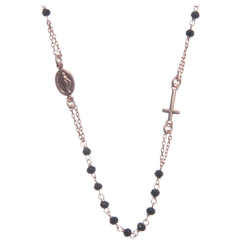 Rosario girocollo Santa Rita rosé nero argento 925 1