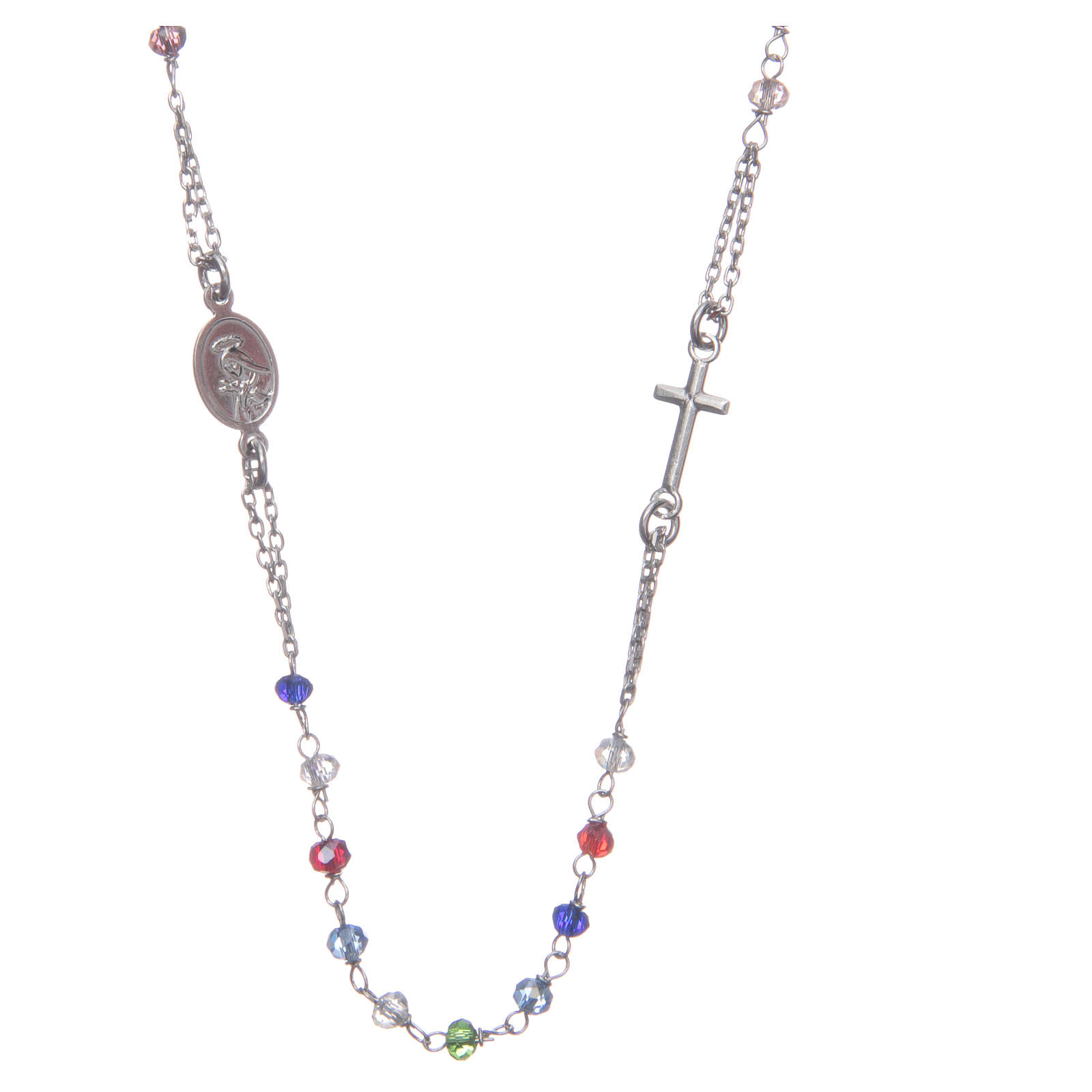 Rosary choker multicoloured Saint Rita classic model gold in 925 sterling silver 4