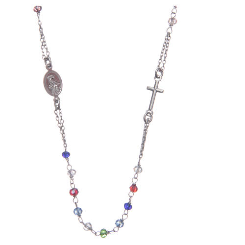 Rosary choker multicoloured Saint Rita classic model gold in 925 sterling silver 2