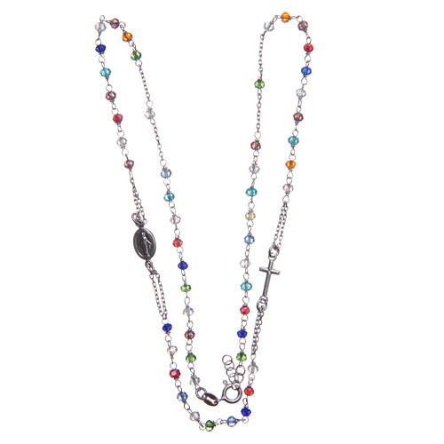 Rosary choker multicoloured Saint Rita classic model gold in 925 sterling silver 3