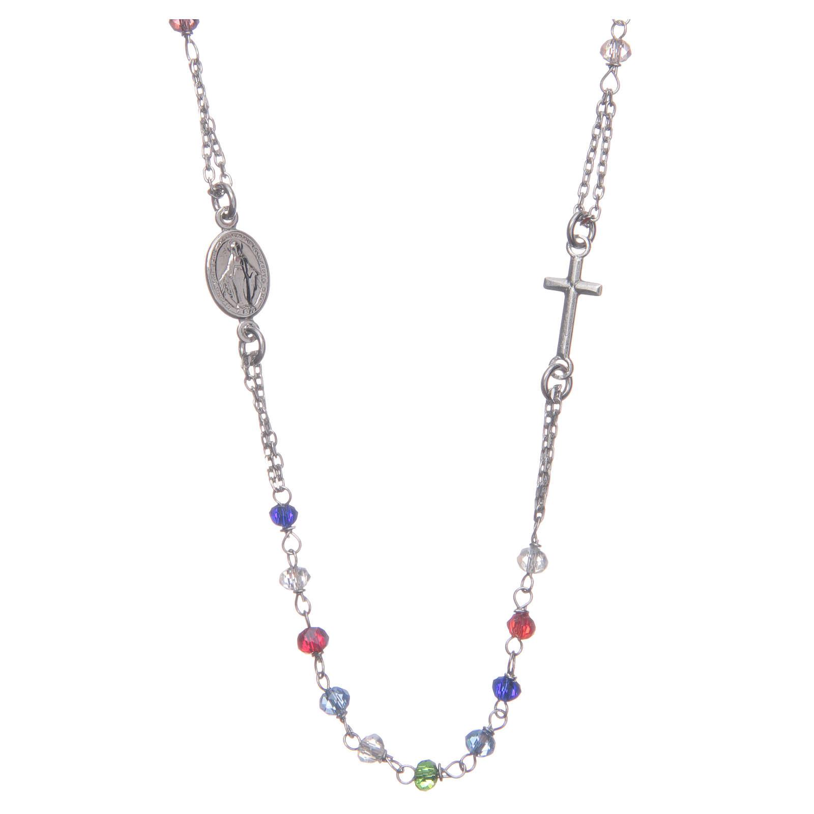 Różaniec na szyję wielokolorowy Święta Rita srebro 925 4