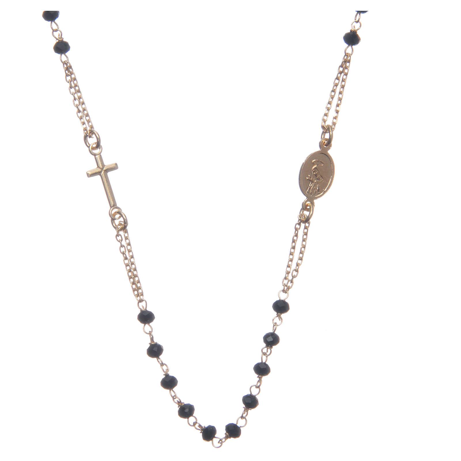 Rosario girocollo dorato nero Santa Rita argento 925 4