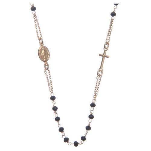 Rosario girocollo dorato nero Santa Rita argento 925 1