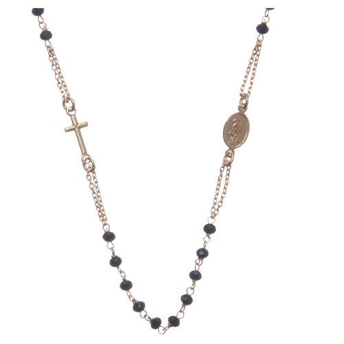 Rosario girocollo dorato nero Santa Rita argento 925 2