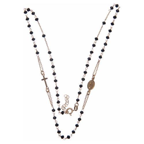 Rosario girocollo dorato nero Santa Rita argento 925 3